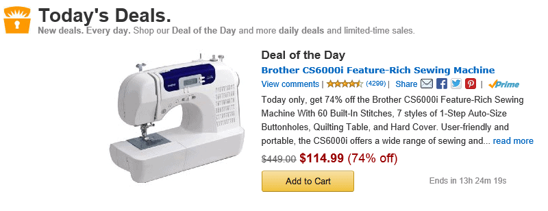 Amazon – Brother Sewing Machine 74% off – only $114.98 #dealoftheday
